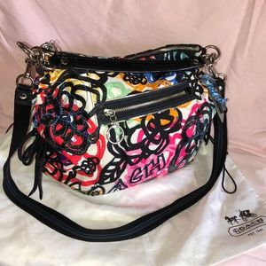 Coach poppy graphic blossom jazzy large hobo bag